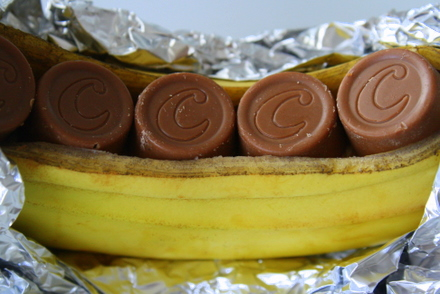 bananer i ugn choklad