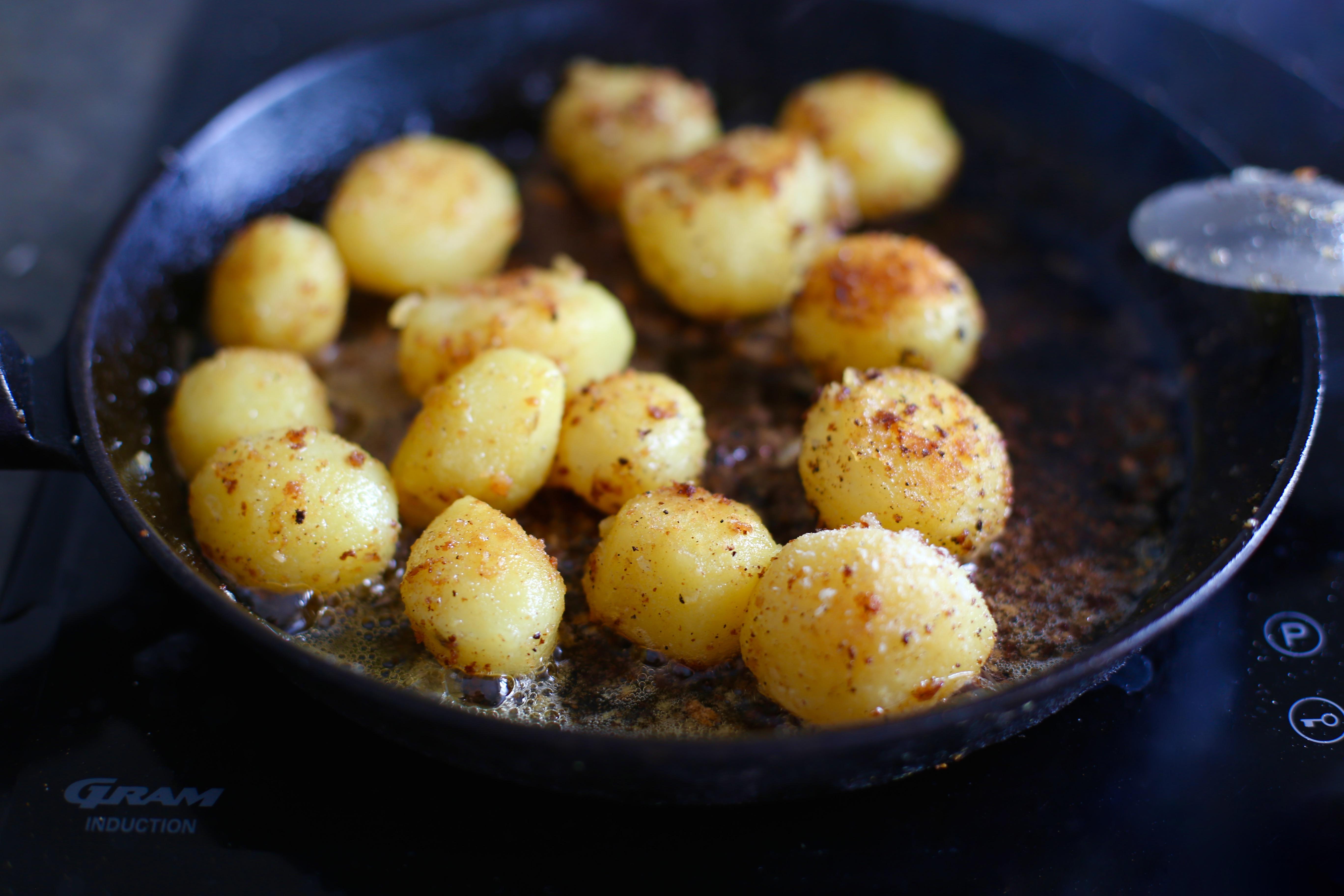 steka kokt potatis