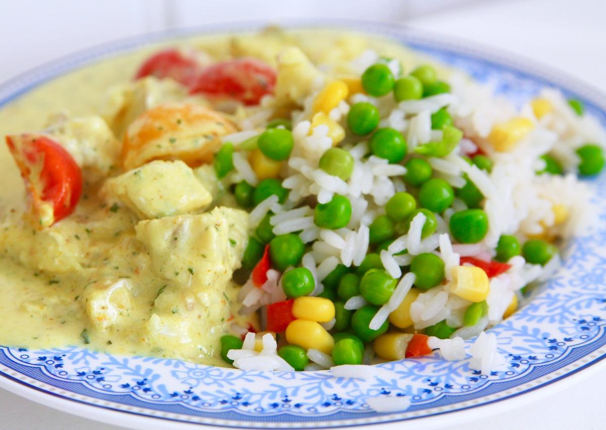 kokt torsk med ris